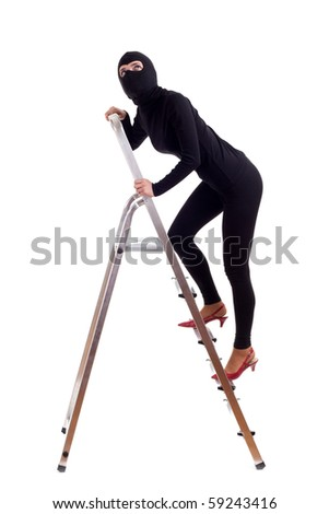 thief in balaclava entering on ladder, isolated