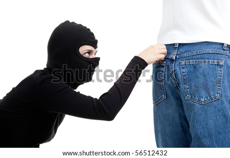 thief in balaclava - pickpocket in action, isolated - stock photo