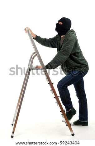 thief in black balaclava entering on ladder, isolated