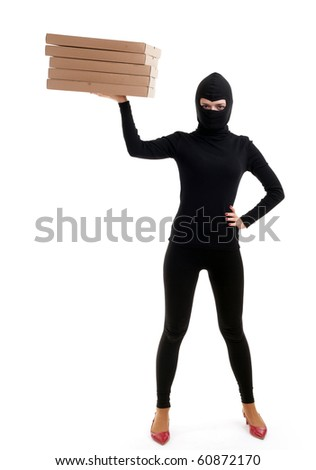 thief in black clothes and balaclava with boxes - stock photo