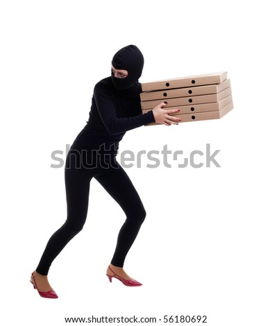 thief in black clothes and cap with boxes - stock photo