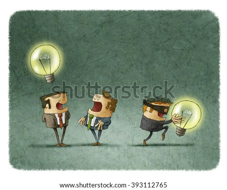 Thief in mask stealing idea from businessman - stock photo