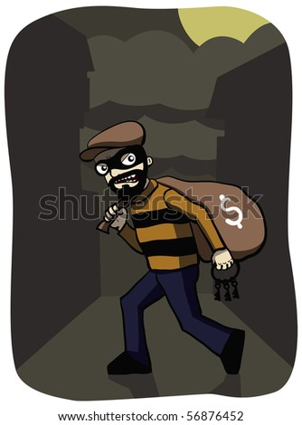 Thief in the night with load of money - stock photo
