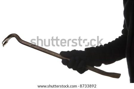 thief or burglar with crowbar isolated on white background - stock photo