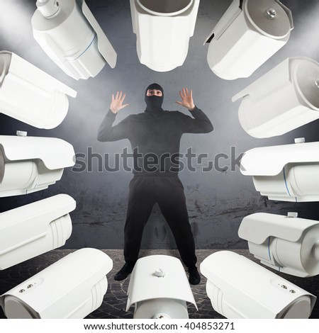 Thief red-handed - stock photo