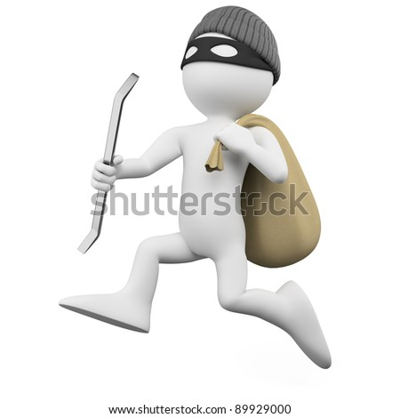 Thief running with a crowbar and a sack - stock photo