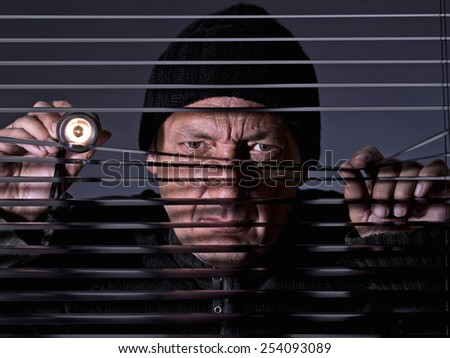 Thief spying across a blind - stock photo