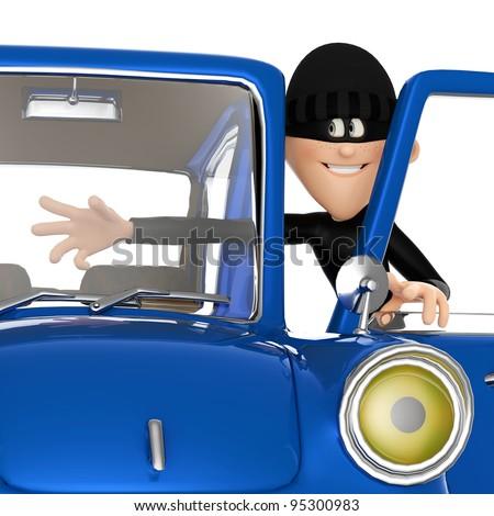 thief stealing a car close up - stock photo