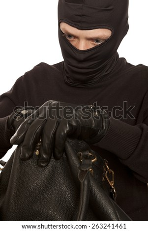 Thief stealing money from women handbag. Isolated on white background - stock photo