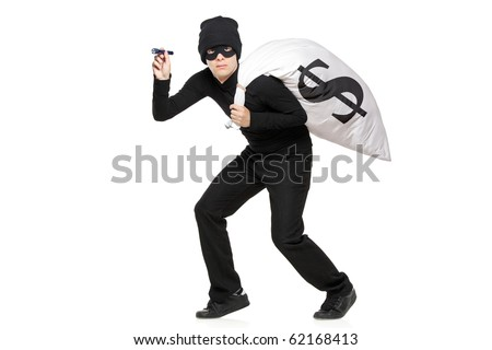 Thief with a bag and flashlight in hands isolated against white background - stock photo