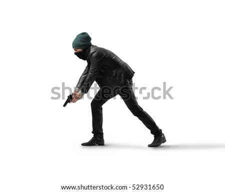 Thief with gun - stock photo
