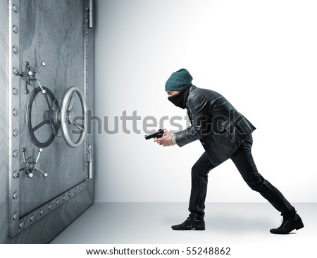 thief with pistol and 3d safe box - stock photo