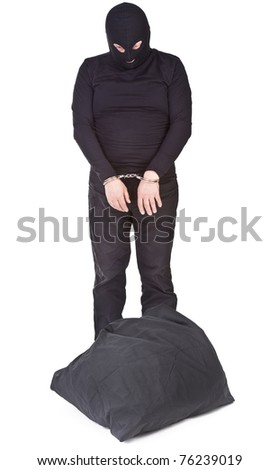 thief with sack handcuffed and isolated on white background - stock photo