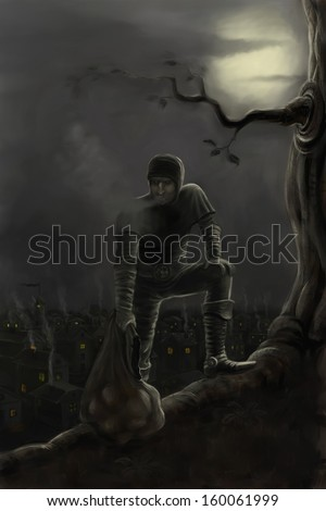 Thief with stolen things in bag running away from city at night - stock photo