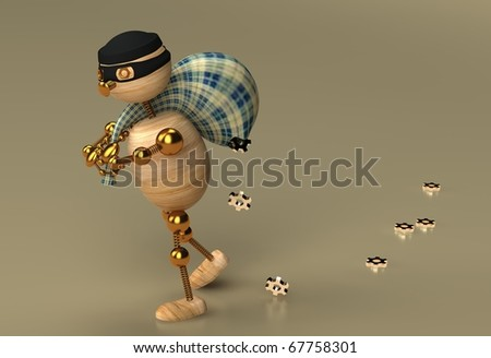 Thief wood man - stock photo
