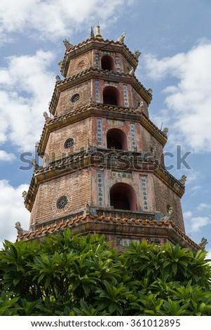Thien Mu Pagoda in Hue, Vietnam - stock photo