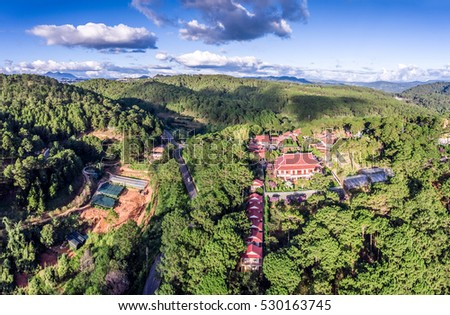 Thien Vien Truc Lam Monastery Dalat. Vietnam. ( view from drone )