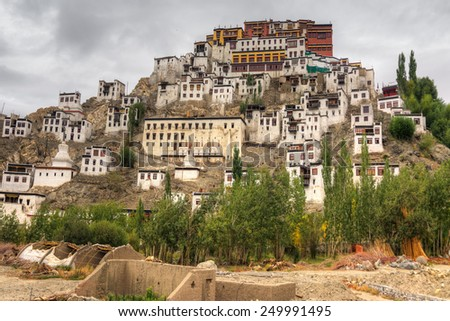Thiksay monastery with view of Himalayan mountians - it is a famous Buddhist temple in,Leh, Ladakh, Jammu and Kashmir, India. - stock photo