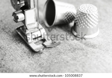 Thimbles and the sewing machine.