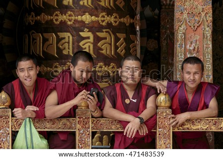 Thimphu, Bhutan - 20 August, 2015: Monks take a rest in a temple near Thimphu, Bhutan
