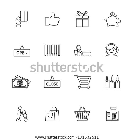 thin and light purchase icons set - stock photo
