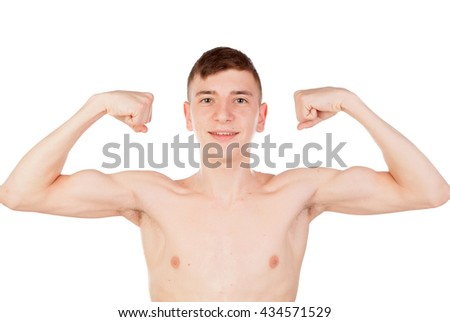 thin and wiry guy with naked torso isolated on a white background