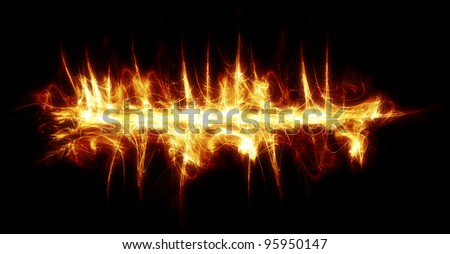 Thin banner line made of fire and sparks. - stock photo