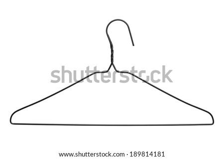Thin Black WIre Clothes Hanger Isolated on White Background. - stock photo