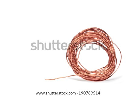 Thin Bright Copper Electrical Wire Isolated Stock Photo (Royalty ...
