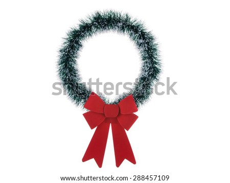 Thin Christmas wreath isolated on white background
