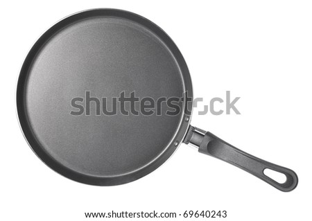 thin frying pan isolated on white - stock photo
