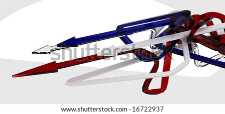 Thin Glass 3d Arrows, isolated
