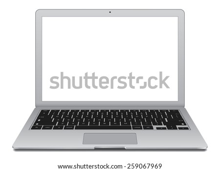 Thin Laptop with blank screen isolated on white background, white aluminium body.