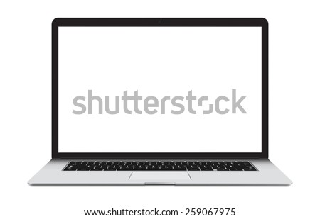 Thin Laptop with blank screen isolated on white background, white aluminium body.  - stock photo
