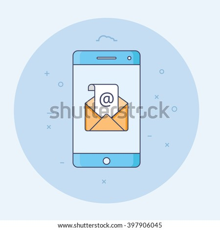 Thin line flat design of concept of regularly distributed news publication via e-mail with some topics of interest to its subscribers. Smart phone and envelope icon for website and promotion banners. - stock photo