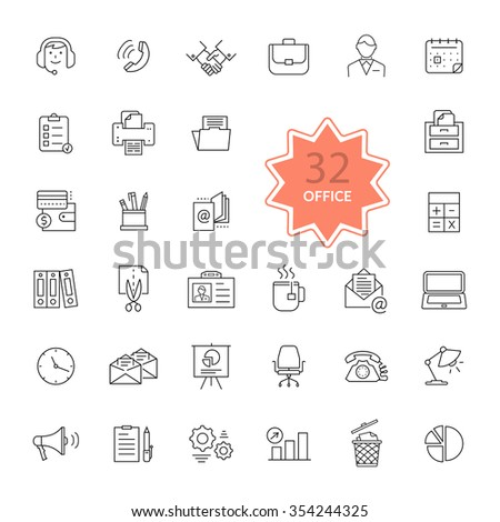 Thin, lines, outline office items icons. Icon set, office icons, business icon, icons, office, business icons, web icon set, business and finance, office and business. Interface icon. Raster version - stock photo
