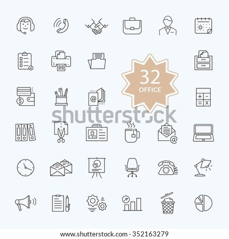 Thin, lines, outline office items icons. Icon set office icons business icon set, icons, office, business icons, web icon set, business and finance, office and business. Interface icon. Raster version - stock photo