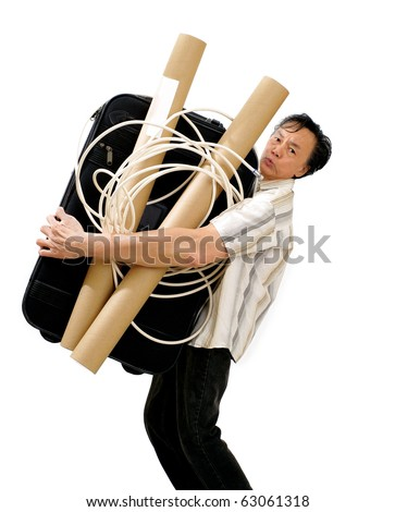 thin  man with strong muscular arm  carrying giant sized luggage. white studio background - stock photo