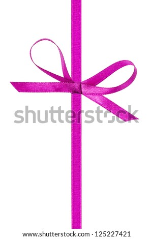 thin purple bow with vertical ribbon, isolated on white - stock photo