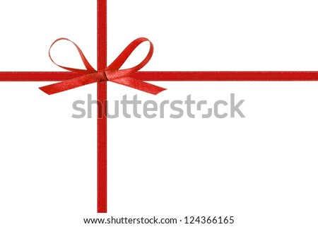 thin red bow with crossed ribbon, isolated on white - stock photo