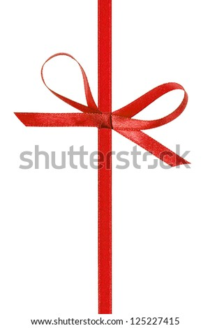 thin red bow with vertical ribbon, isolated on white - stock photo