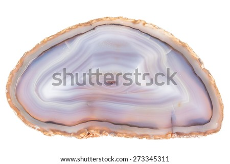 Thin slice of agate geodes with concentric layers isolated over a white background - stock photo