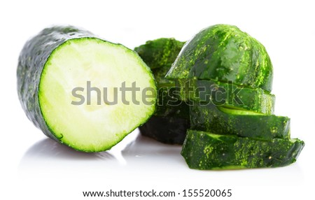 thin sliced cucumber on a white background