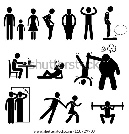 Thin Slim Skinny Weak Man People Person Anorexia Stick Figure Pictogram Icon - stock photo