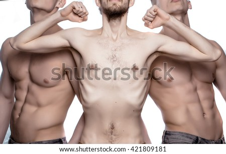 Thin torso pose between two men with sporty athletic muscular strong sexy body in studio isolated on white background - stock photo