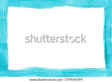 Thin turquoise freehand painted rectangular frame on white, brush marks show in the paint. - stock photo