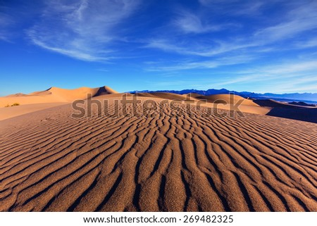 Thin waves on sand. Bright solar morning in picturesque part of Death Valley, USA. Mesquite Flat Sand Dunes, Stovepipe Wells Village - stock photo
