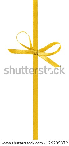 thin yellow bow with vertical ribbon, isolated on white - stock photo
