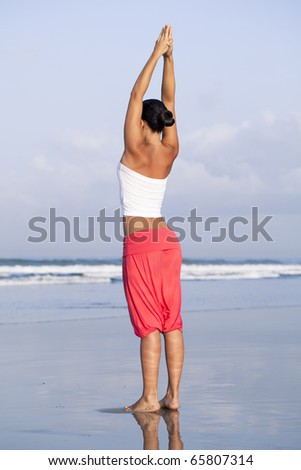 Thin young woman on the beach - stock photo