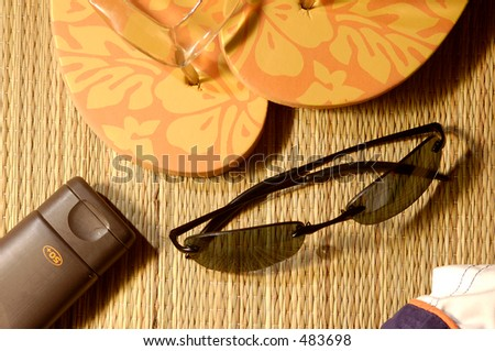things for a trip to the beach - stock photo
